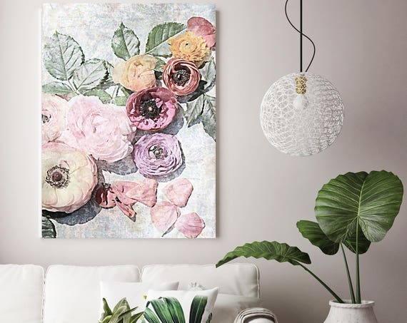 "Shabby Chic Flowers 73. Floral Painting, Pink Abstract Art, Large Abstract Colorful Contemporary Canvas Art Print up to 72"" by Irena Orlov"