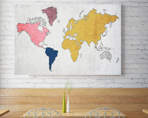 World map, Huge world map, Yellow Pink map, Industrial art, Cottage wall, Vintage Map, Map canvas art print, Farmhouse decor, Map on canvas