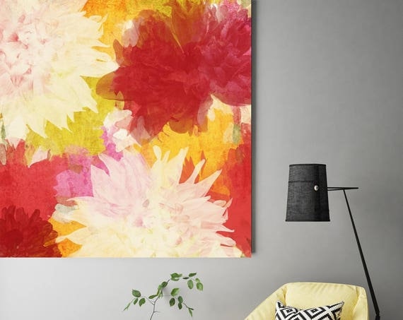 "Drop of Sunshine. Red Yellow Floral Canvas Art Print, Extra Large Floral Painting Canvas Art Print up to 48"" by Irena Orlov"
