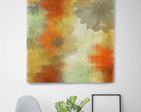 "Organic Inspiration. Floral Rustic Canvas Art Print up to 48"", Large Floral Canvas Art Print, Red Green Floral Canvas Print by Irena Orlov"