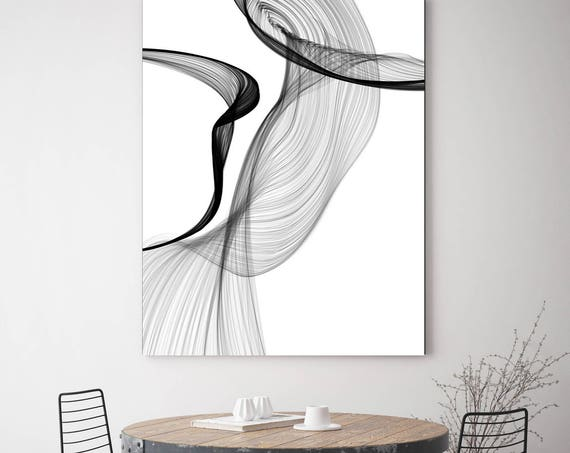 "ORL-7371-19 Rhythm and Flow 60H x 40W"", Original Minimalist New Media Abstract Black And White Work on Canvas Investment Opportunity"