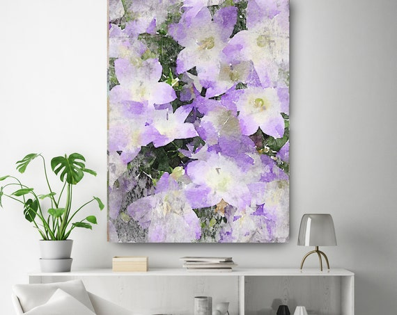 Rustic Purple Flowers 2 Vintage Flower Watercolors Painting Canvas Print Purple Flower Watercolors Painting Canvas Art Print up to 72""