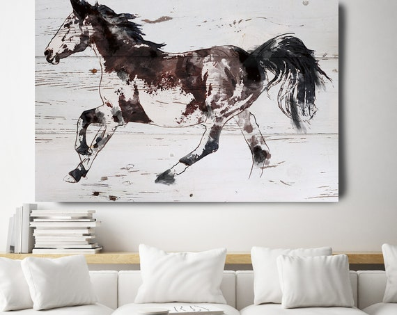 Horse Painting Brown White Minimalist Horse Wall Art, Jumping Brown Horse, Horse Painting, Horse Race, Horse Canvas Print, Farmhouse Art
