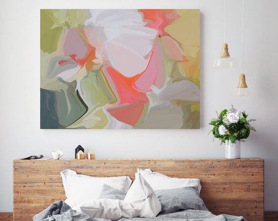 First Look, Original Art, Abstract, Trending Now, Modern, Contemporary, Irena Orlov, Flow Painting, Large Canvas Print, Coral Abstract