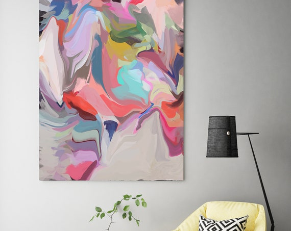 Picnic, Red Blue Pink Abstract Painting / Modern Art / Original Art /Pink Painting Pink Abstract Art Blue and Yellow Art/Canvas Print