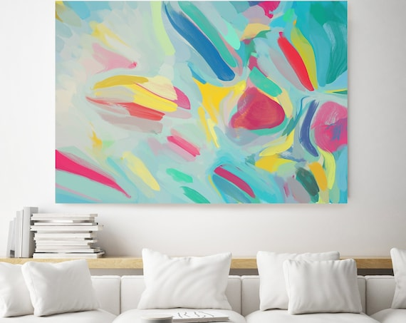 The small joys in your day, Green Blue Yellow Abstract Painting, Abstract Painting, Contemporary Art, Hand Painted extra large canvas print