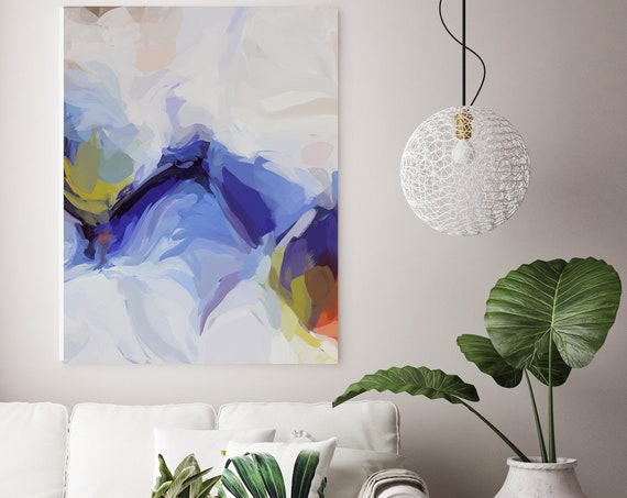 Blue Flow Large Art Abstract Painting Blue White Green Wall Art Home Decor Canvas Prints Coastal Wall Decor Canvas Art Print Irena Orlov