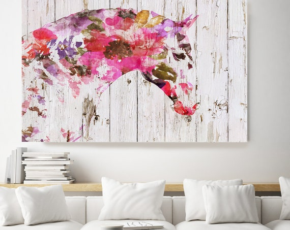 Floral BOHO Horse. Horse Art Large Canvas, BOHEMIAN PAINTING Multi Color Painted Horse Boho Wall Art,  Floral Horse Canvas Print Watercolor