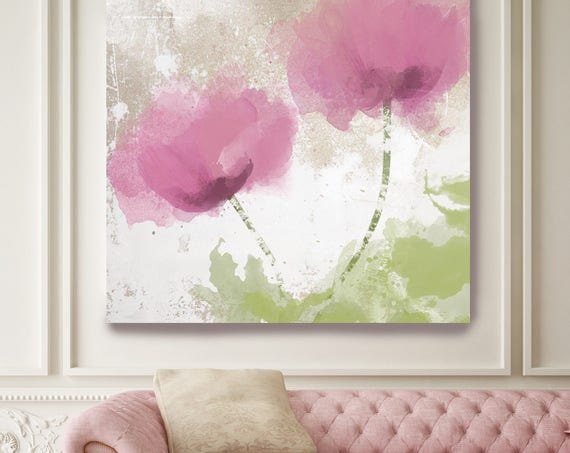 "Smiles and Sunshine. Floral Painting, Pink Green Abstract Art Large Abstract Colorful Contemporary Canvas Art Print up to 48"" by Irena Orlov"