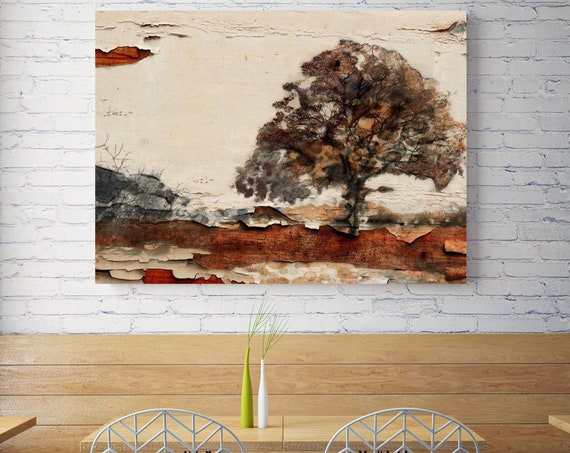 """Earth Landscape III. Huge Rustic Landscape Painting Canvas Art Print, Extra Large Beige Brown Gray Canvas Art Print up to 80"""" by Irena Orlov"""