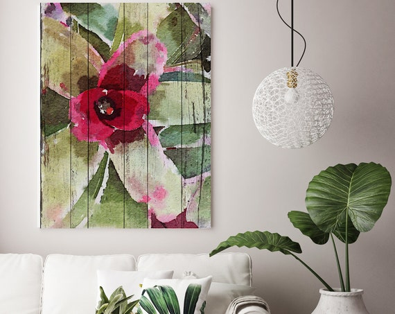 Red Green Exotic Plant on Wood Plank Canvas Wall Art, Large Rustic Canvas Succulent Print, Home Decor Succulent Art by Irena Orlov