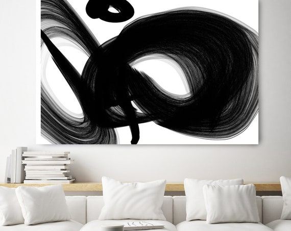 "A channel. 40H x 60W"" Original New Media Abstract Black White Painting on Canvas, Unique, Minimalist Large Abstract Painting, INVEST IN ART"