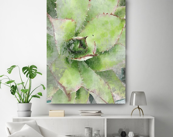 "Rustic Green Succulent. SUCCULENT Watercolor Wall Art, Watercolor CANVAS Prints, Succulent Flower Artwork up to 72"" by Irena Orlov"