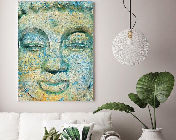 "Buddha, Inner Peace 1. Large Rustic Yellow Buddha Canvas Art Print  up to 60"", Large Rustic Buddha Canvas Art by Irena Orlov"