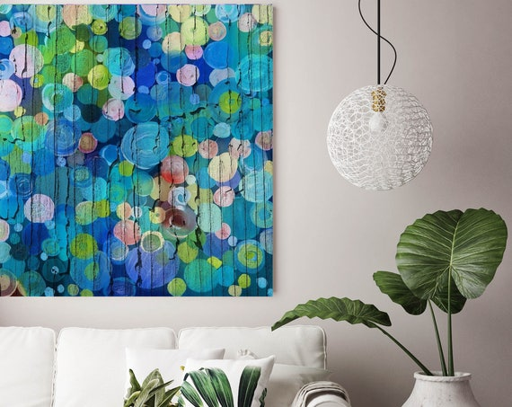"""Codified Emotions. Blue Green Abstract Circles, Wall Decor, Large Abstract Colorful Contemporary Canvas Art Print up to 48"""" by Irena Orlov"""