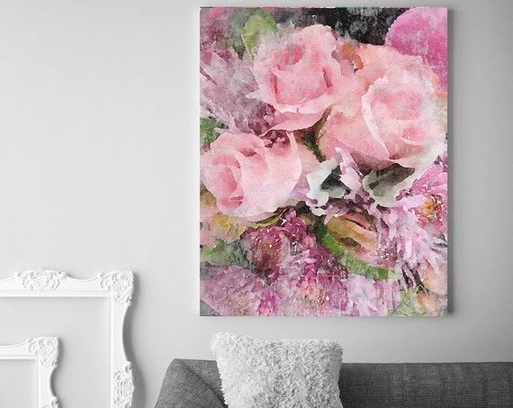 """Vibrant Summer Bouquet 2 Vintage Flower Watercolors Painting Canvas Print Pink Vintage Flower Painting Watercolor Canvas Art Print up to 72"""""""