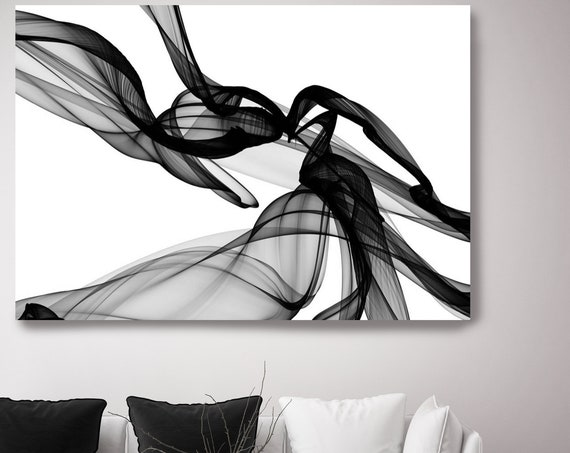 Large canvas art Black and White Abstract Painting, Abstract Canvas Print, Large Wall Art,  new media art