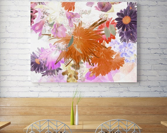"Island Escape. Floral Painting, Pink Orange Purple Floral Art, Abstract Colorful Contemporary Canvas Art Print up to 72"" by Irena Orlov"