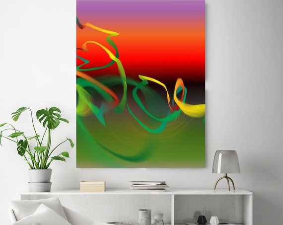 "Storm of Creation 16 Neon Colors New Media Art Red Green Abstract Canvas Print, Extra Large Abstract Canvas Print up to 90"" by Irena Orlov"