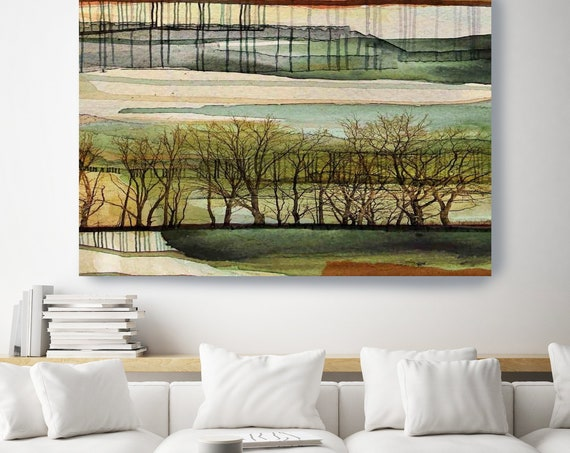 Green Planet earth. Huge Rustic Landscape Painting Canvas Art Print, Extra Large Beige Green Brown Canvas Art Print, Landscape Painting