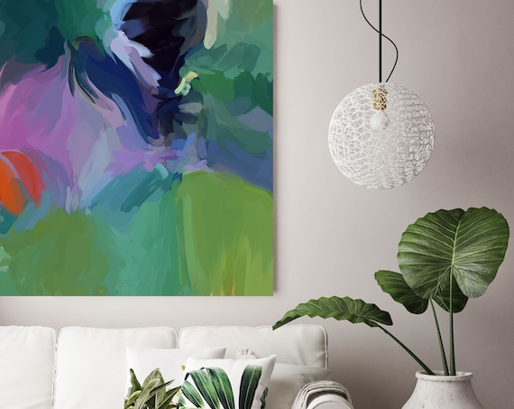 """Summer Energy, Art Abstract Print on Canvas up to 50"""", Green Purple Blue Abstract Canvas Art Print, Sunny City by Irena Orlov"""