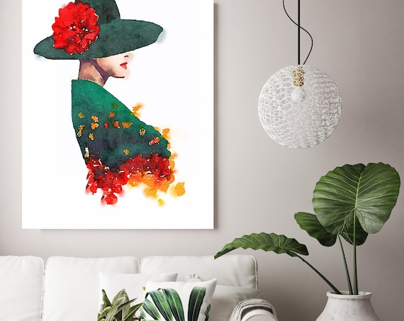 Autumn Woman Fantasy 10, Figurative painting, Woman watercolor painting print, Woman Portrait Poster, Woman Canvas Print