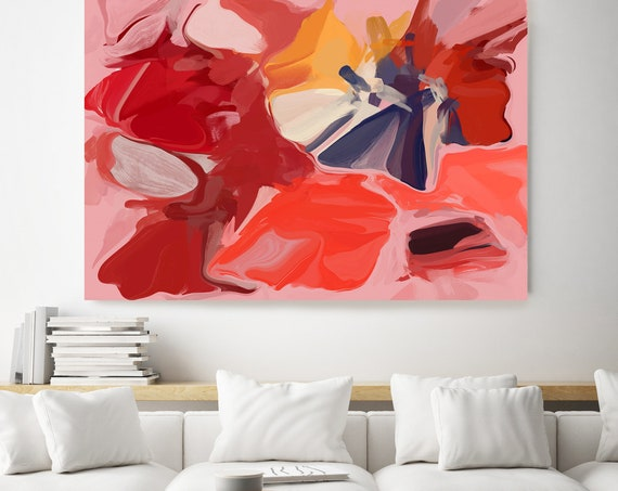 On-trend, Red Blue Large abstract painting Original abstract painting Canvas painting Canvas Print Original painting Large Wall Art