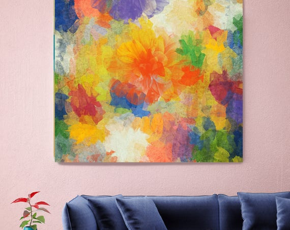 "Air of happiness. Abstract Paintings Art, Wall Decor, Extra Large Abstract Yellow Blue Green Canvas Art Print up to 48"" by Irena Orlov"