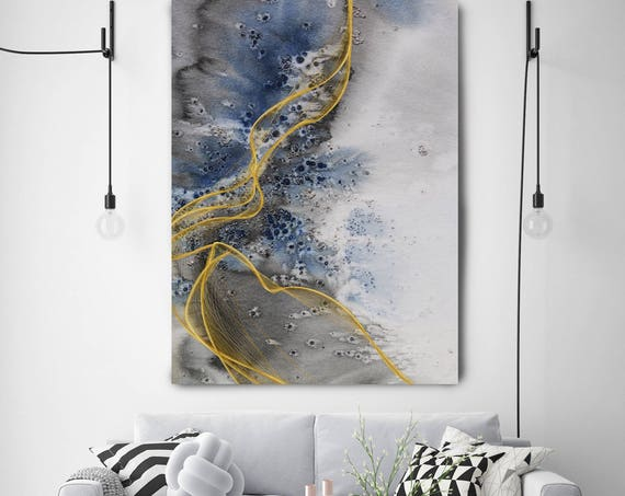 """Coastal Watercolor Abstract 126-2. Watercolor Abstract Blue Black Gold Canvas Art Print, Watercolor Painting Print up to 72"""" by Irena Orlov"""