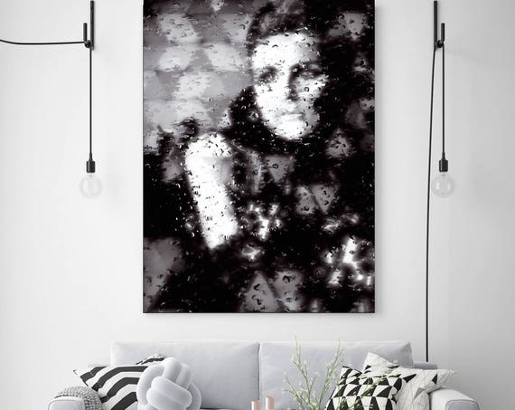 """Rainy Mood, Abstract Figurative Blur Canvas Art Print, Black and White  Canvas Print up to 72"""" by Irena Orlov and UmbrellaShot"""