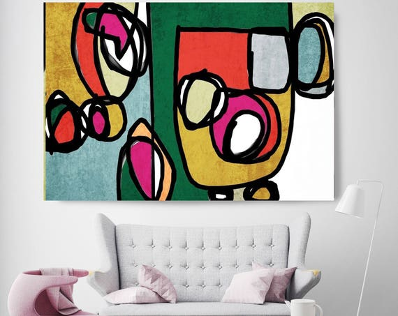 "Vibrant Colorful Abstract-0-4. Extra Large Mid Century Modern Colorful Red Green Canvas Art Print up to 72"" by Irena Orlov"