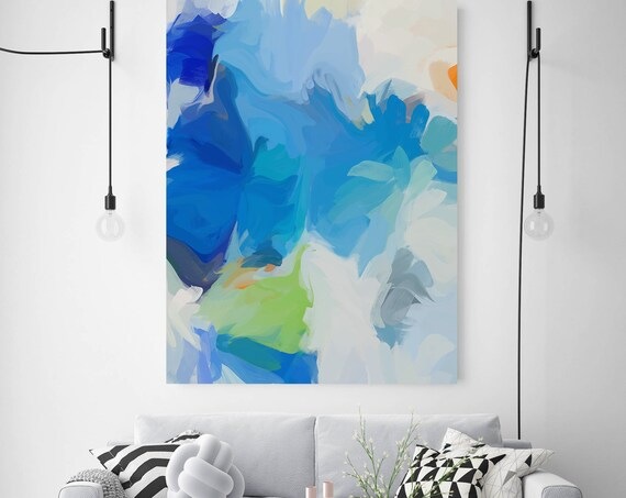 Blue Green Abstract Painting Original contemporary art large wall art blue green painting with texture canvas Print