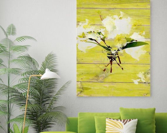 """White Flowers in vase. Floral Painting, White Green Abstract Art, Abstract Colorful Contemporary Canvas Art Print up to 72"""" by Irena Orlov"""