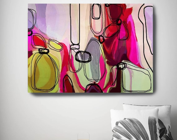"Permission to Envision. Red Green Abstract Art, Large Abstract Colorful Contemporary Canvas Art Print up to 72"" by Irena Orlov"