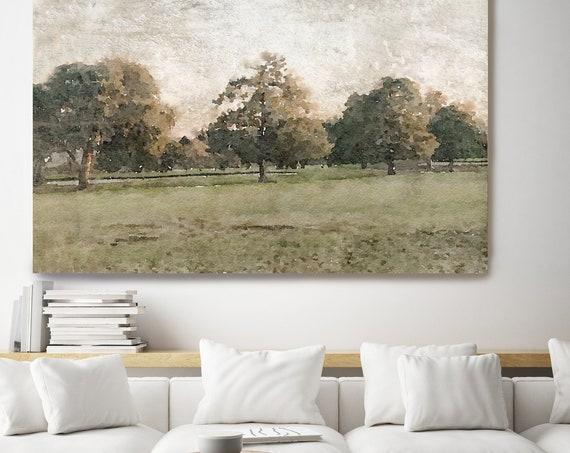 rustic landscape painting, landscape watercolor, landscape art print, rustic landscape Canvas Print, Rural Landscape, November morning