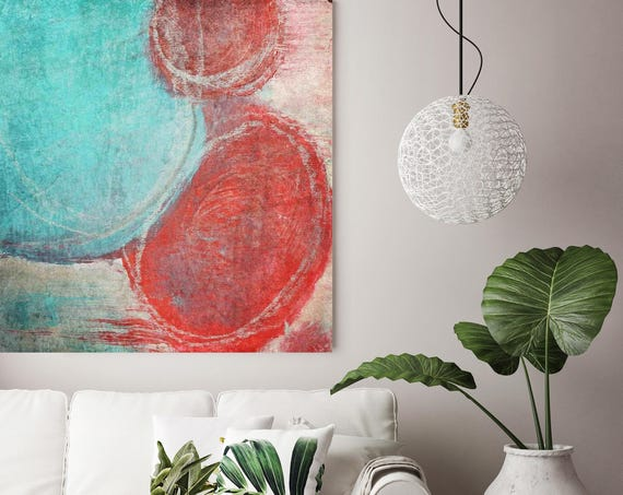 """Energy. Red Blue Abstract Art, Wall Decor, Extra Large Abstract Colorful Contemporary Canvas Art Print up to 48"""" by Irena Orlov"""