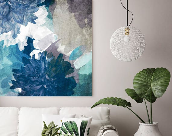 "Gentle Thoughts. Floral Painting, Blue White Abstract Floral Painting Canvas Art Print up to 48"" by Irena Orlov"