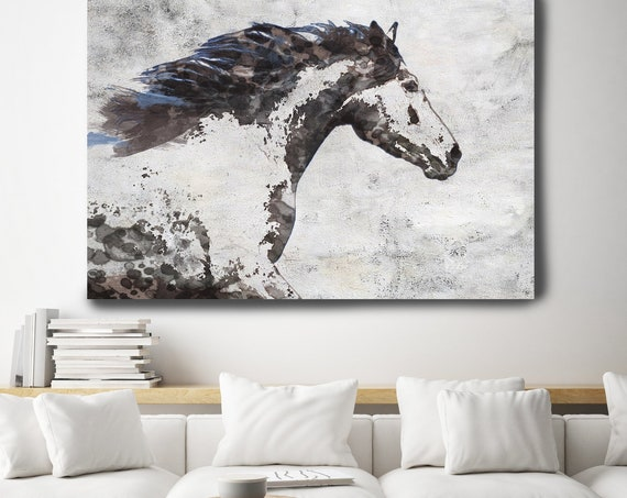 Brown Blue Majestic Horse 1. Horse Painting, Horse Art, Brown Rustic Horse, Horse Running horse Canvas Print Horse Painting Farmhouse Art