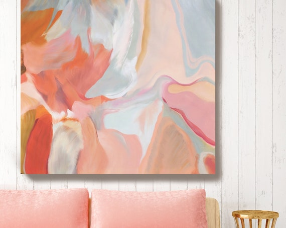 "Environmental Vibrations 9. Pink Abstract Art, Wall Decor, Large Abstract Colorful Contemporary Canvas Art Print up to 48"" by Irena Orlov"