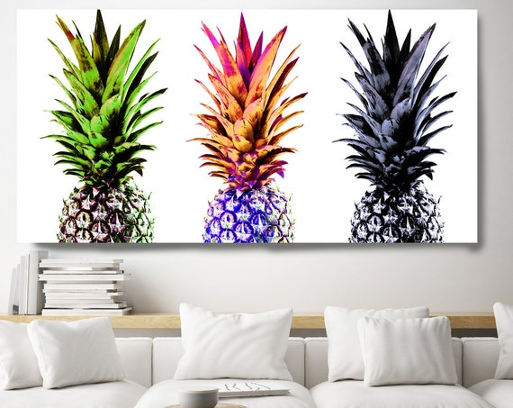Pineapple Decor, Pineapple Art, Colorful Pineapple Decor, Pineapple Canvas Print, Pineapple Home Decor, 3 Pineapples Canvas Print