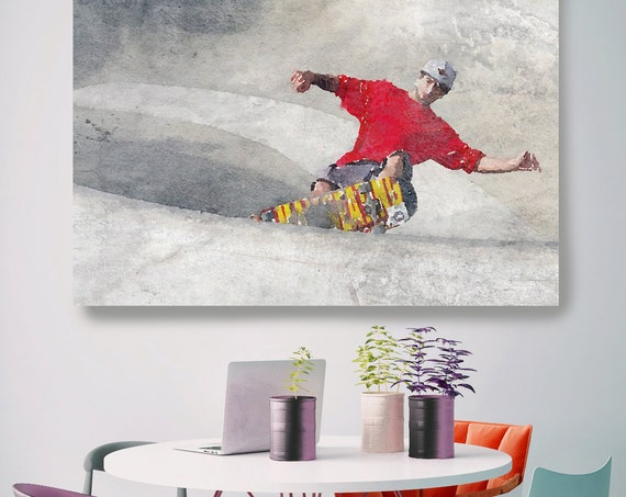Skateboarder, Skateboard, Watercolor, Wall Art, watercolor painting, Canvas Art Print, man skateboarding on a skateboard ramp, Irena Orlov