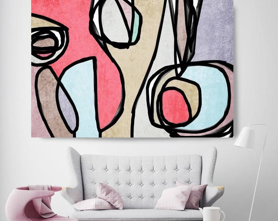 "Vibrant Colorful Abstract-0-74. Mid-Century Modern Blue Pink Canvas Art Print, Mid Century Modern Canvas Art Print up to 72"" by Irena Orlov"