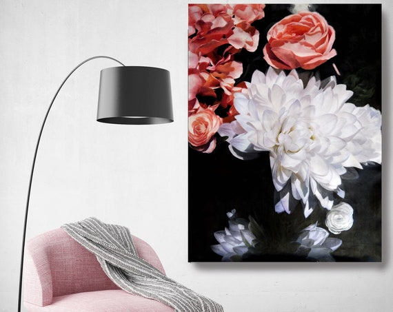Floral Inspiration 10-2. Black White Red Floral Painting, blossom canvas art print, blossoming painting, floral painting, blossoming
