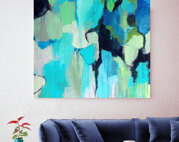 "Reaching Deeper. Blue Abstract Art, Wall Decor, Extra Large Abstract Colorful Contemporary Canvas Art Print up to 48"" by Irena Orlov"