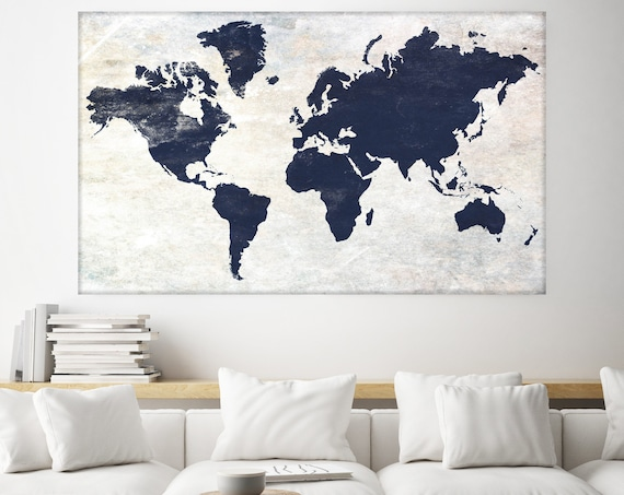 Huge world map, Executive gift, Rustic map, Industrial art, Cottage wall, Vintage Map, Map canvas art print, Blue White Map,Antique Map