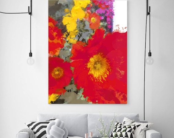 "Poppy Magic. Floral Painting, Red Abstract Poppy Flower Art, Large Abstract Colorful Contemporary Canvas Art Print up to 72"" by Irena Orlov"