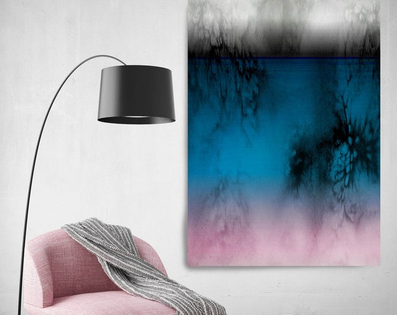 Abstract Minimalist Rothko Inspired 1-32. Abstract Painting Giclee of Original Wall Art, Blue Pink Black Large Canvas Art Print up to 72""