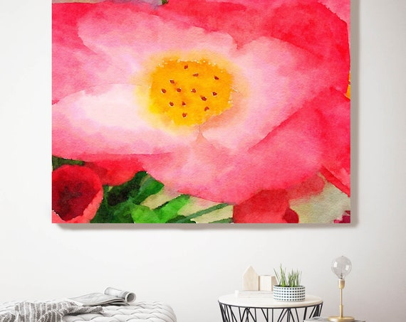 "ORL-10049 Red Flower, Red Watercolor Floral Painting, Red Floral Canvas Art Print, Abstract Floral Canvas Art Print up to 50"" by Irena Orlov"