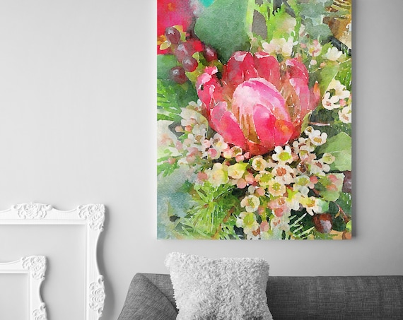 """Tropical Bunch Vintage Flower Watercolors Painting Canvas Print Red Vintage Flower Painting Watercolor Canvas Art Print up to 72"""""""