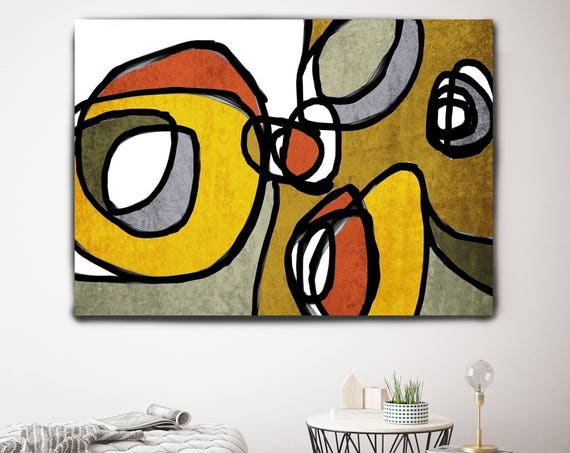 "Vibrant Colorful Abstract-0-29. Mid-Century Modern Red Yellow Canvas Art Print, Mid Century Modern Canvas Art Print up to 72"" by Irena Orlov"